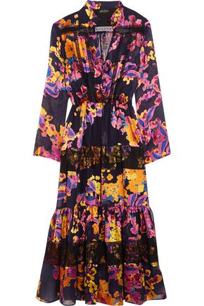 SALONI Alyssa lace-trimmed ruffled floral-print chiffon dress