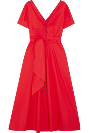 SALONI Zoey cutout stretch-cotton poplin midi dress