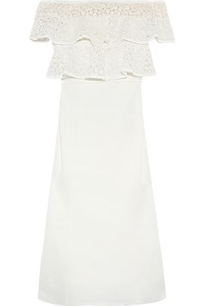 REBECCA VALLANCE Farina ruffled embroidered lace and stretch-crepe dress