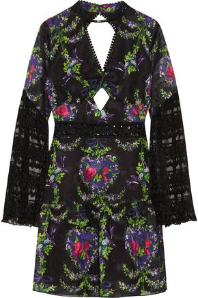 ANNA SUI Cutout lace-trimmed fil coupé dress