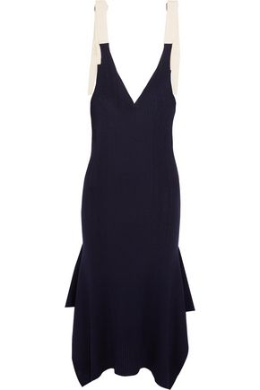 T by ALEXANDER WANG Draped ribbed merino wool midi dress