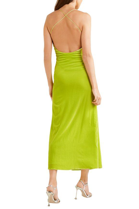 Michael Lo Sordo Woman Caroline Open-back Velvet Midi Dress Lime Green Size 8 Michael Lo Sordo d4mxLPza
