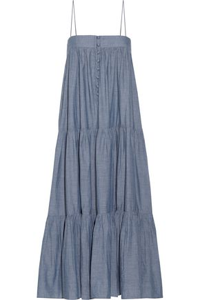 APIECE APART Tangiers tiered cotton-chambray midi dress