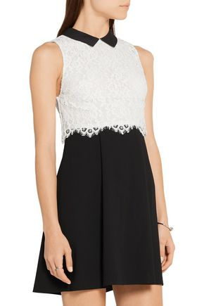 ALICE + OLIVIA Desra corded lace and crepe mini dress