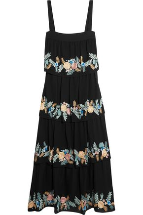 VILSHENKO Tiered embroidered silk-georgette midi dress