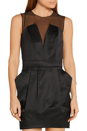 PIERRE BALMAIN Organza-paneled stretch cotton-blend satin-twill mini dress