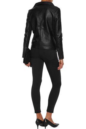 MUUBAA Jersey-paneled leather biker jacket