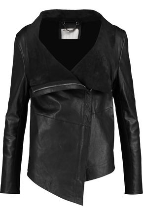 MUUBAA Jersey-paneled leather biker jacket