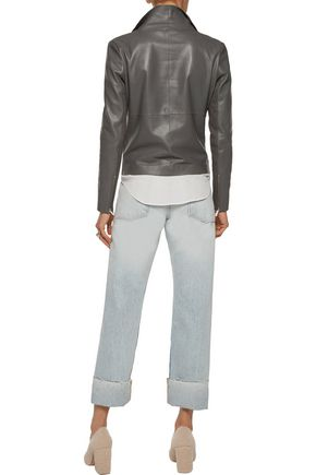 MUUBAA Suede-lined leather biker jacket