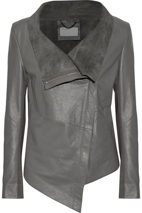 MUUBAA Suede-lined leather biker jacket