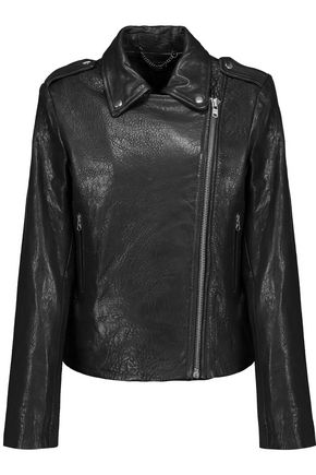 MUUBAA Harley paneled smooth and textured-leather biker jacket