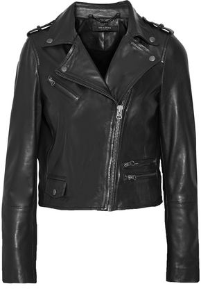 MUUBAA Collumba cropped leather biker jacket