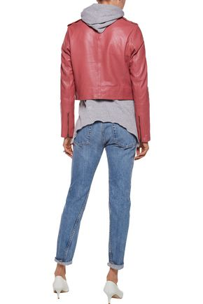 MUUBAA Collumba cropped leather biker jacket