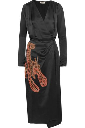 ATTICO Gabriela beaded appliquéd satin wrap dress