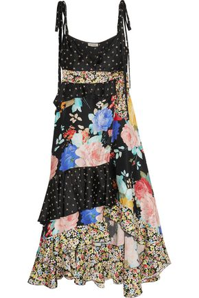 ATTICO Carmen ruffled embroidered floral-print silk-satin midi dress