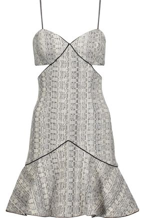 JONATHAN SIMKHAI Cutout pleated tweed mini dress