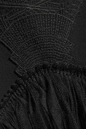JONATHAN SIMKHAI Tulle-trimmed embroidered crepe dress