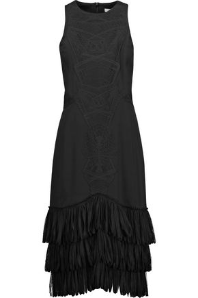 JONATHAN SIMKHAI Tulle-trimmed embroidered crepe dress