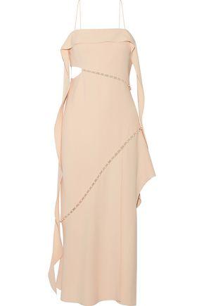 JONATHAN SIMKHAI Faux pearl-embellished cutout crepe midi dress