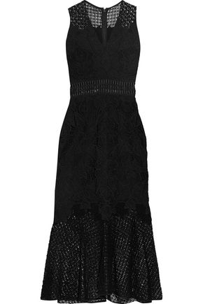 JONATHAN SIMKHAI Crochet knit-paneled corded lace midi dress