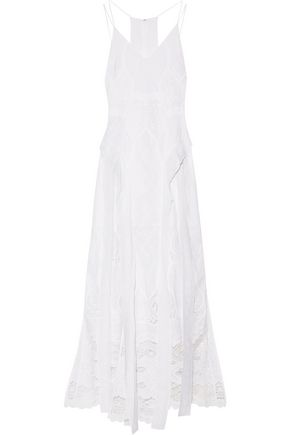 JONATHAN SIMKHAI Crochet-paneled embroidered cotton-voile gown