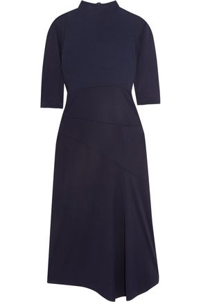 ATLEIN Ribbed cotton-paneled jersey midi dress