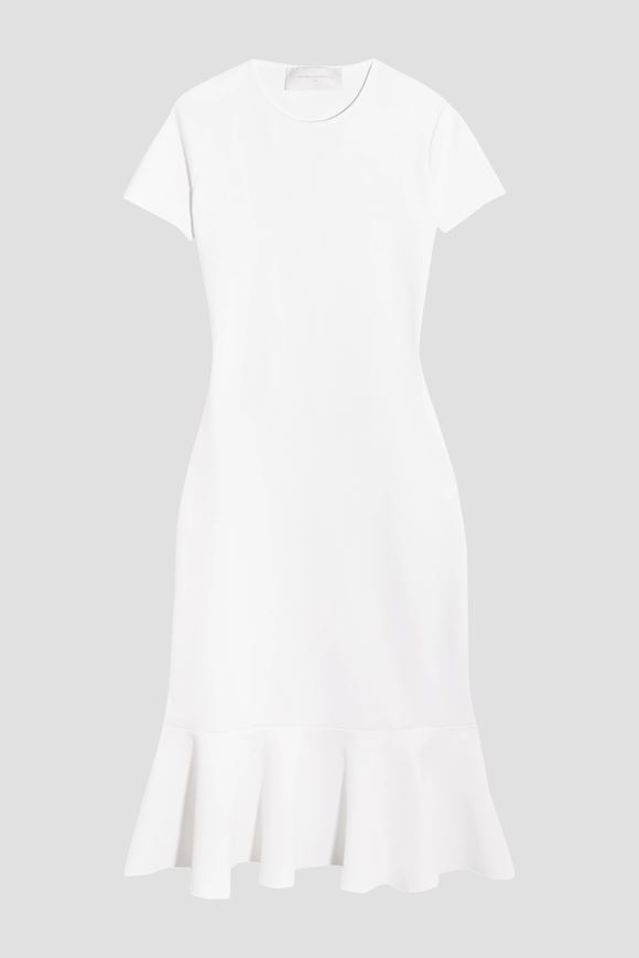 Buy Cheap Cheapest Price Outlet Popular Esteban Cortazar Woman Peace Sign Fluted Open-back Stretch-knit Dress White Size XL Esteban Cortazar Cheap Sale Wide Range Of Discount Clearance Store 9IBor9MA1r