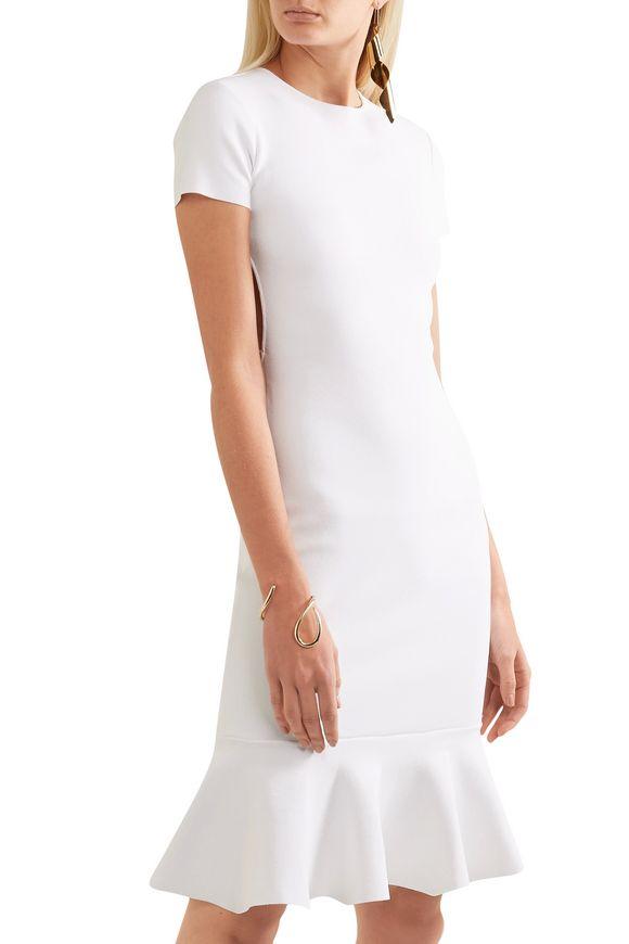 Esteban Cortazar Woman Peace Sign Fluted Open-back Stretch-knit Dress White Size XL Esteban Cortazar h0vh4O