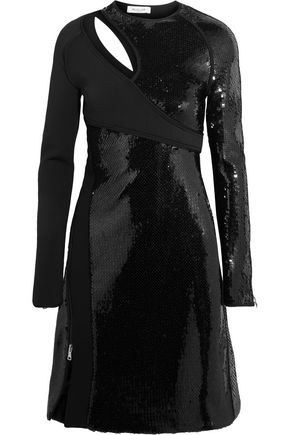 MUGLER Cutout sequined bonded jersey mini dress