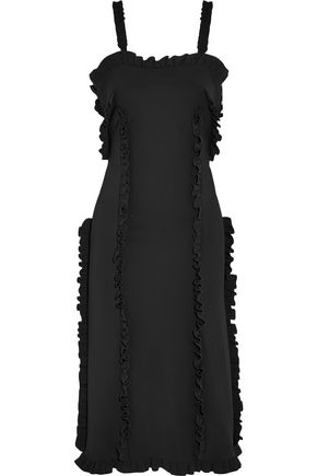 PASKAL Ruffle-trimmed stretch-crepe dress