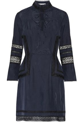 10 CROSBY DEREK LAM Lace-paneled washed-silk mini dress