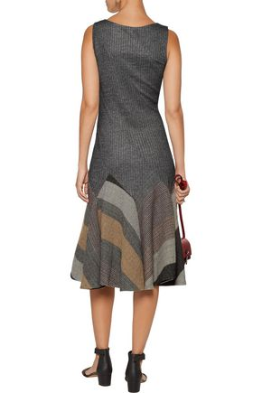 DEREK LAM 10 CROSBY Pleated flared wool-blend dress