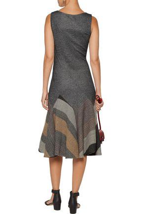 10 CROSBY DEREK LAM Pleated flared wool-blend dress