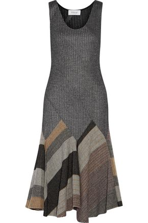 10 CROSBY DEREK LAM Pleated flared wool-blend dress
