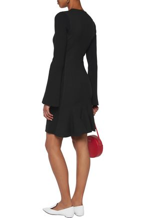 10 CROSBY DEREK LAM Paneled twill and ribbed stretch-jersey mini dress