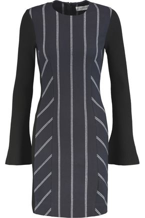 10 CROSBY DEREK LAM Striped paneled twill and ribbed stretch-jersey mini dress