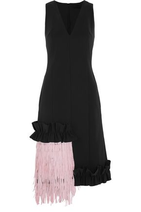 PASKAL Fringed ruffle-trimmed bonded stretch-crepe dress