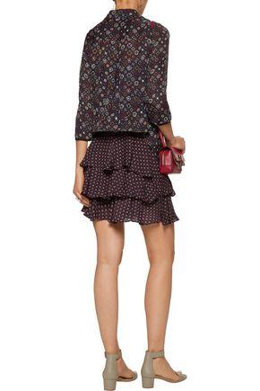 10 CROSBY DEREK LAM Layered printed silk crepe de chine mini dress