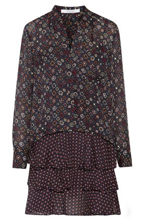 DEREK LAM 10 CROSBY Layered printed silk crepe de chine mini dress