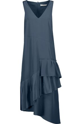 TIBI Asymmetric pleated silk midi dress