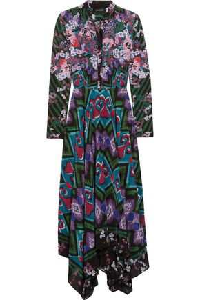SALONI Cerise asymmetric printed silk-crepe maxi dress