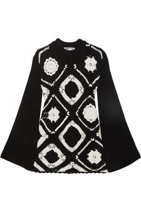 McQ Alexander McQueen Crocheted wool and cotton-blend mini dress