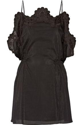 THAKOON Addition crochet-trimmed cotton and silk-blend poplin mini dress
