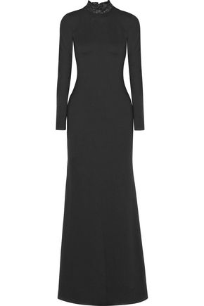 ALICE + OLIVIA Rosamund lace-paneled stretch-jersey gown