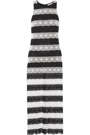 ALICE + OLIVIA Lucia striped crocheted maxi dress