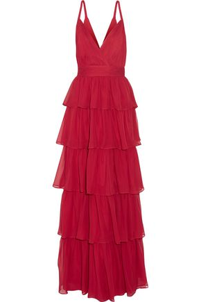 ALICE + OLIVIA Gianna tiered silk-georgette gown