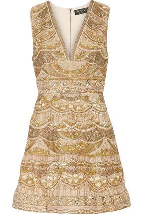 ALICE + OLIVIA Patty embellished silk-chiffon mini dress