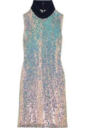 3.1 PHILLIP LIM Jersey-trimmed sequined silk turtleneck dress