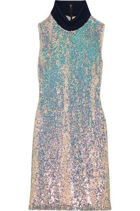 3.1 PHILLIP LIM Jersey-trimmed sequined silk turtleneck dress