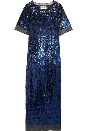 BY MALENE BIRGER Lines sequined stretch-mesh maxi dress